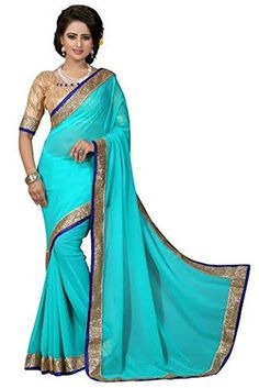 Elegant Golden Sequin Border Bollywood Saree Ethnic Designer Indian Party Dress - Brought to you by Avarsha.com