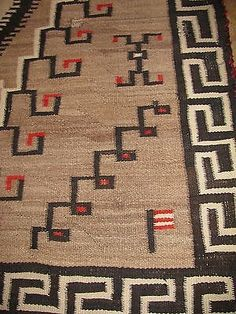 Vintage Navajo Flower And Bird Tree Of Life Rug Carpets