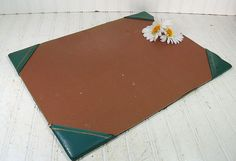 Shabby Chic Teal Leatherette with Gold Tooling by DivineOrders, $22.00