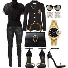 A fashion look from January 2017 by scannedbyaaron featuring RED Valentino, Yves Saint Laurent, Balmain, Gucci, Rolex, Anita Ko and Linda Farrow