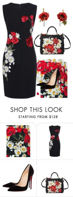 """Red Poppies"" by easy-dressing ❤ liked on Polyvore featuring Dolce&Gabbana and Christian Louboutin"