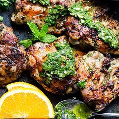 Grilled Chicken Chimichurri is flavourful chicken thighs recipe that requires minimum marinating time because you can just top it with more chimichurri sauce, duh. | ifoodreal.com