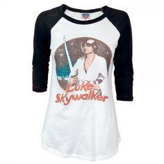 Junk Food Ladies Star Wars Luke Skywalker Long Sleeved T Shirt ($36) ❤ liked on Polyvore