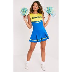 Cheerleader Blue Fancy Dress Costume (53 AUD) ❤ liked on Polyvore featuring costumes, cheerleader costume, blue cheerleader costume, blue halloween costume, blue costume and fancy halloween costumes