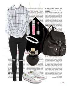 """""""Black and White"""" by jessicawednesday on Polyvore featuring Topshop, Converse, H&M, Cartier, Lancôme, Sydney Evan and Aéropostale"""
