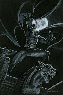 Batman Gargoyle - Black Board, Greg Hildebrandt Comic Kunst, Comic Art, Comic Books, All Of The Lights, Light In The Dark, Im Batman, Pin Up Art, Dark Backgrounds, Gotham