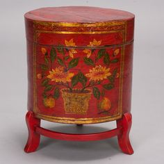 Chinese Painted Hat Box  --  This Chinese footed hatbox is painted a vibrant shade of red and makes a practical and colorful accessory or display.  --   Item:  172   --  Retail Price:  $245