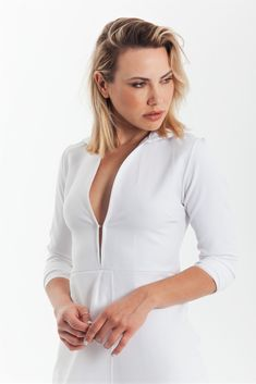 Sexy drape bodycon shirt dress in white Minimalist Dresses, Asymmetrical Dress, Dress Party, Styling Tips, Wardrobe Staples, Casual Looks, White Dress, Nude, Culture