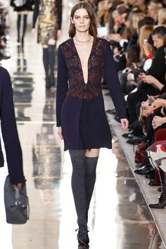 Daringly low cut day to night navy with burgundy embellishment dress from Tory burch. A fresh neckline for this length and purpose. Tory Burch Fall 2014 Ready-to-Wear Collection Slideshow on Style.com
