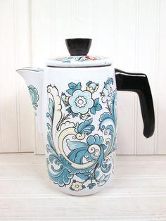 Vintage Berggren Enamel Coffee Pot Scandinavian Swedish Enamelware Retro   eBay