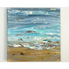 Ocean painting, textured abstract beach modern art, square 12x12... (505 HKD) ❤ liked on Polyvore featuring home, home decor, wall art, beach scene painting, textured home decor, square paintings, sea wall art and sea painting