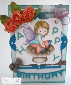"""Whimsy Stamps """"Young Spring Fairy"""", Quick Creations DT, Leah Tees, October"""
