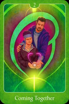 """Daily Angel Oracle Card: Coming Together, from the Psychic Tarot For The Heart Oracle Card deck, by John Holland Coming Together ~ Key Words: """"Harmony, romance, healing, commitment."""" """"This is a car..."""