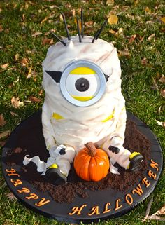 - Mummy Minion!  This is the  cake I made for a school halloween party.