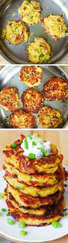 Bacon, Spaghetti Squash, and Parmesan Fritters #bacon #spaghettisquash #dinner