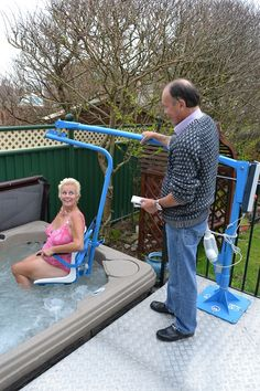 Hot Tub Lifts for disabled access by Dolphin Mobility Hoists. How about in the bathroom for the tub? Handicap Accessories, Spa Accessories, Wheelchair Accessories, Disabled Bathroom, Handicap Bathroom, Handicap Lifts, Inflatable Hot Tub Reviews, Disability Awareness, Disability Help