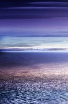 Ocean Purple Sunset   collage  and digital painting