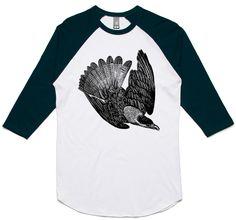 theIndie Blackbird in Flight (Black) 3/4-Sleeve Raglan Baseball T-Shirt