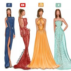 Social media girls in Haute Couture dresses by Zuhair Murad. @lilyfashionsketch illustration