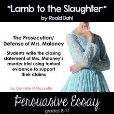 the roald dahls murder fiction lamb to the slaughter Roald dahls villains 6 pages  roald dahl's short story en d lamb to the slaughter is a classic  teacher connection of the lamb to the slaughter and real.