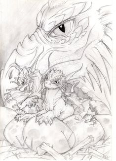 Baby dragons by VictoriaMorris on DeviantArt A mom and a baby dragon, being all cute. Adult Coloring Book Pages, Colouring Pages, Coloring Books, Fantasy Dragon, Dragon Art, Realistic Drawings, Colorful Drawings, Baby Dragon Tattoos, Dragon Coloring Page