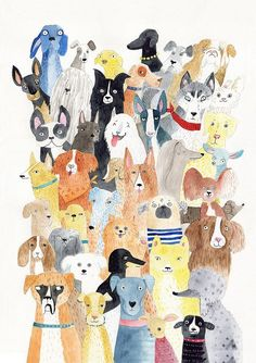 Dog print lots of dog breed A3 print by SurfingSloth on Etsy