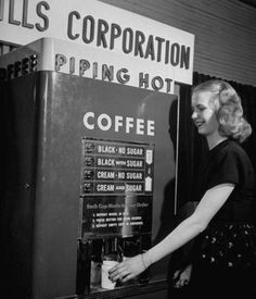 Coffee machine with 4 possible mixtures each selling for 5 cents, 1947  [piping hot…]