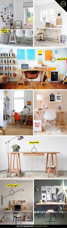 Diy desk sawhorse home 27 ideas My New Room, My Room, Diy Deco Rangement, I Spy Diy, Diy Desk, Home Decor Inspiration, Workspace Inspiration, Home And Deco, Home Office