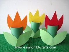 Spring Crafts for Kids--make tulips out of toilet paper rolls and construction paper.