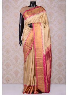 Cream & gold lovely kanchipuram silk saree with dull gold border-SR19001