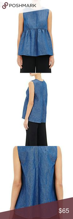 Co Barney's New York Babydoll Denim Top Lovey denim top by Co for Barney's New York. This top looks so nice on and it super versatile and comfortable.   Designed by Francois Girbaud the famous denim whisperer!   Brand new with Tags! Barneys New York Tops