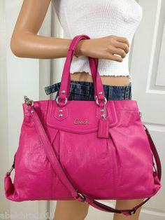 COACH PINK ASHLEY LARGE LEATHER CARRYALL SHOULDER BAG PURSE