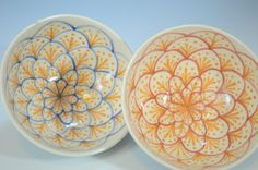 Japanese Flower Rice Bowls set of 2  Meoto chawan by aimorrison, $38.00- beautiful pottery handmade by Ai Morrison!  Check out her stuff on etsy.com