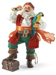Christmas Booty - Pirate Santa | Santa Claus Figurines and Hand Carved Wooden Santas
