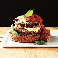 Open-Faced Eggplant Sandwiches | CookingLight.com #myplate #vegetables #grain #dairy