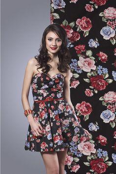 floral black - vestidos  wall mends