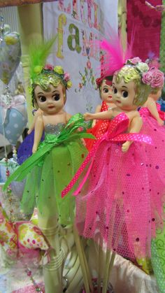 kewpie dolls alive and well- revitalized with newly sewn gowns of bright green and pink! Old Dolls, Antique Dolls, Vintage Dolls, Cupie Dolls, Kewpie Doll, Barbie, Hello Dolly, Pink And Green, Bright Green