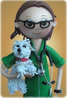 Fofucha Veterinaria con perro
