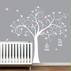 Wall Decal Tree with Bird Cages-Children Nursery Wall Decals Stickers Vinyl. $99.00, via Etsy.