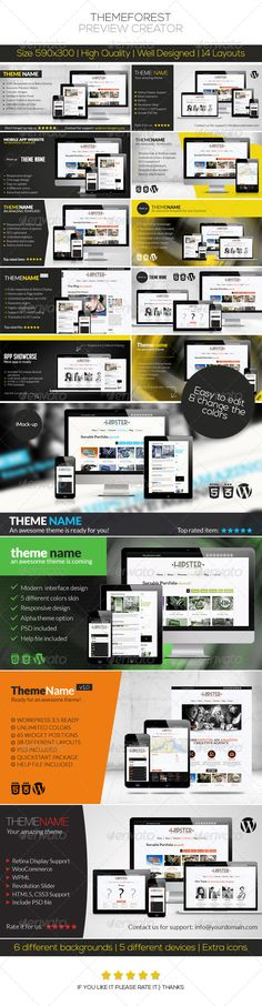 ThemeForest Preview Creator — Photoshop PSD #maker #application • Available here → https://graphicriver.net/item/themeforest-preview-creator/4840388?ref=pxcr