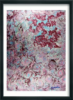 "Hand Marbled  painting  Marbled paper.italian  abstract marbling  19.5"" x 27,3"" cm 50 x 70  -  SIGNED   709"