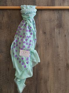 Scarf - mint with purple polka dots Flamingo, Purple, Blue, Scarves, Polka Dots, Mint, Flamingo Bird, Scarfs, Flamingos