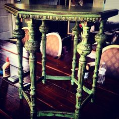 Side table done in #dixiebelle mineral chalk paint in kudzu