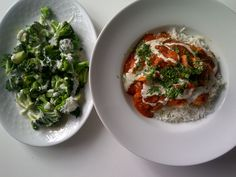 Tikka massala with grilled broccoli and yoghurtsauce