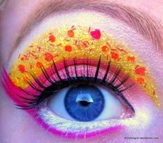 Pink and yellow with colored glitter.