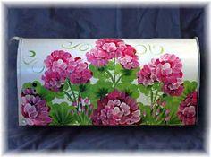 hand painted mailboxes | ... hand-painted-mailboxes.com/assets/images/Geranium_pink_mailbox_530.jpg