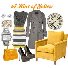 A Hint of Yellow, from Polyvore again - Karen Millen colourblock bandage dress, Ophelia double breasted trench coat, YSL metallic platform high heels, Coach watch, Tiffany & Co. bracelet and Hermes bag