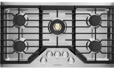 Monogram ZGU36RSLSS 36 Inch Gas Cooktop with Dual-Flame Burners, Continuous Grates, Electronic Ignition, Precision Knobs, Cast Iron Griddle, Tri-ring Burner and ADA Compliant