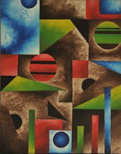 Original geometric oil painting adbstract by LisaCherryArt on Etsy, $275.00
