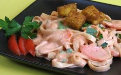 Vegan Recipes - Blushing Alfredo Fettuccine